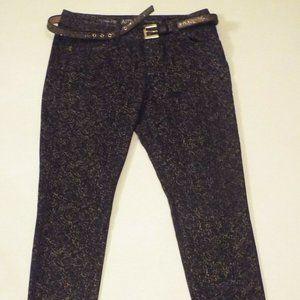 Apt 9 Skinny Leg Black w Floral Gold Metallic Pant
